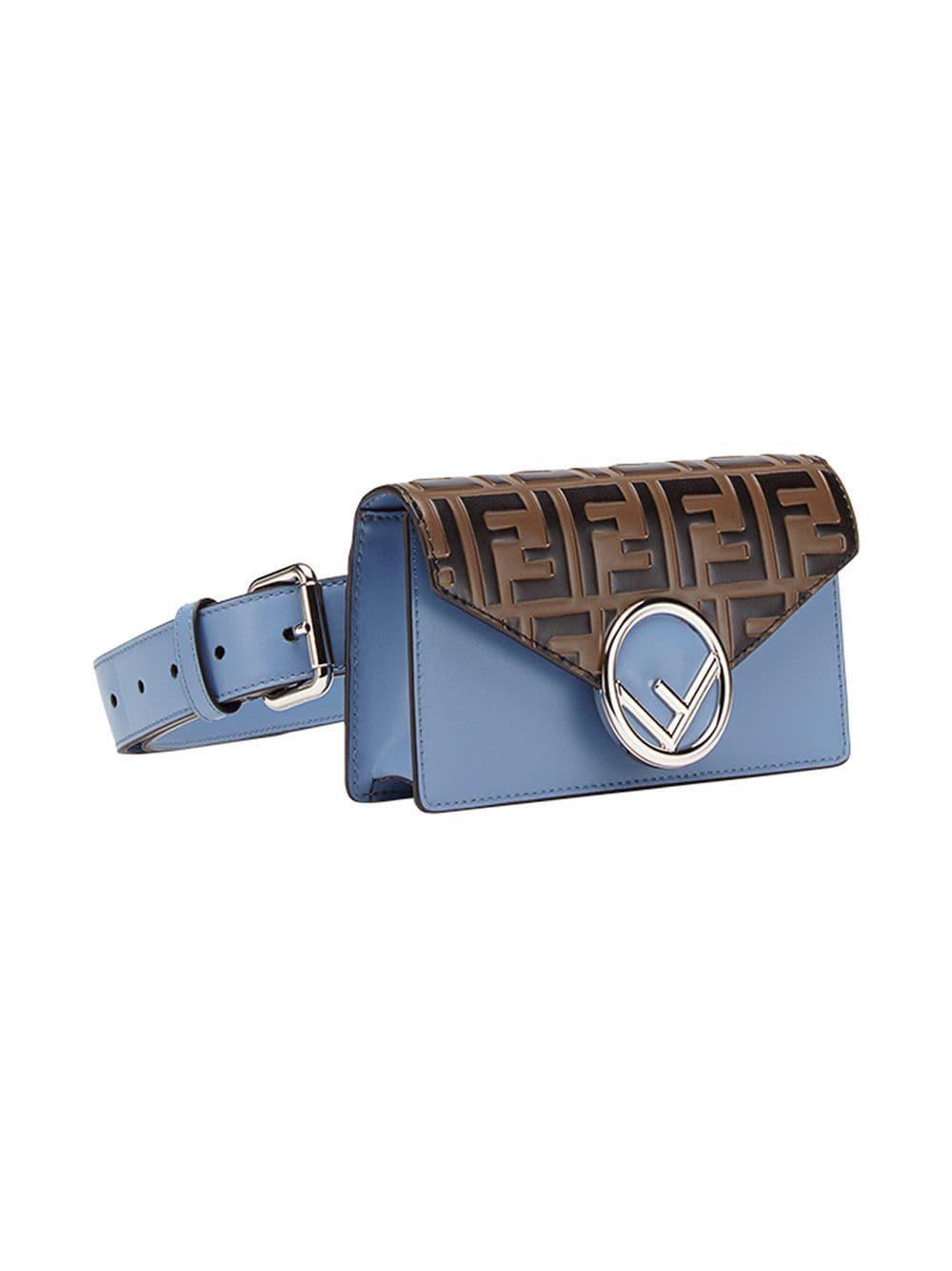 52d5e4ff00e1 Lyst - Fendi Ff Belt Bag in Blue
