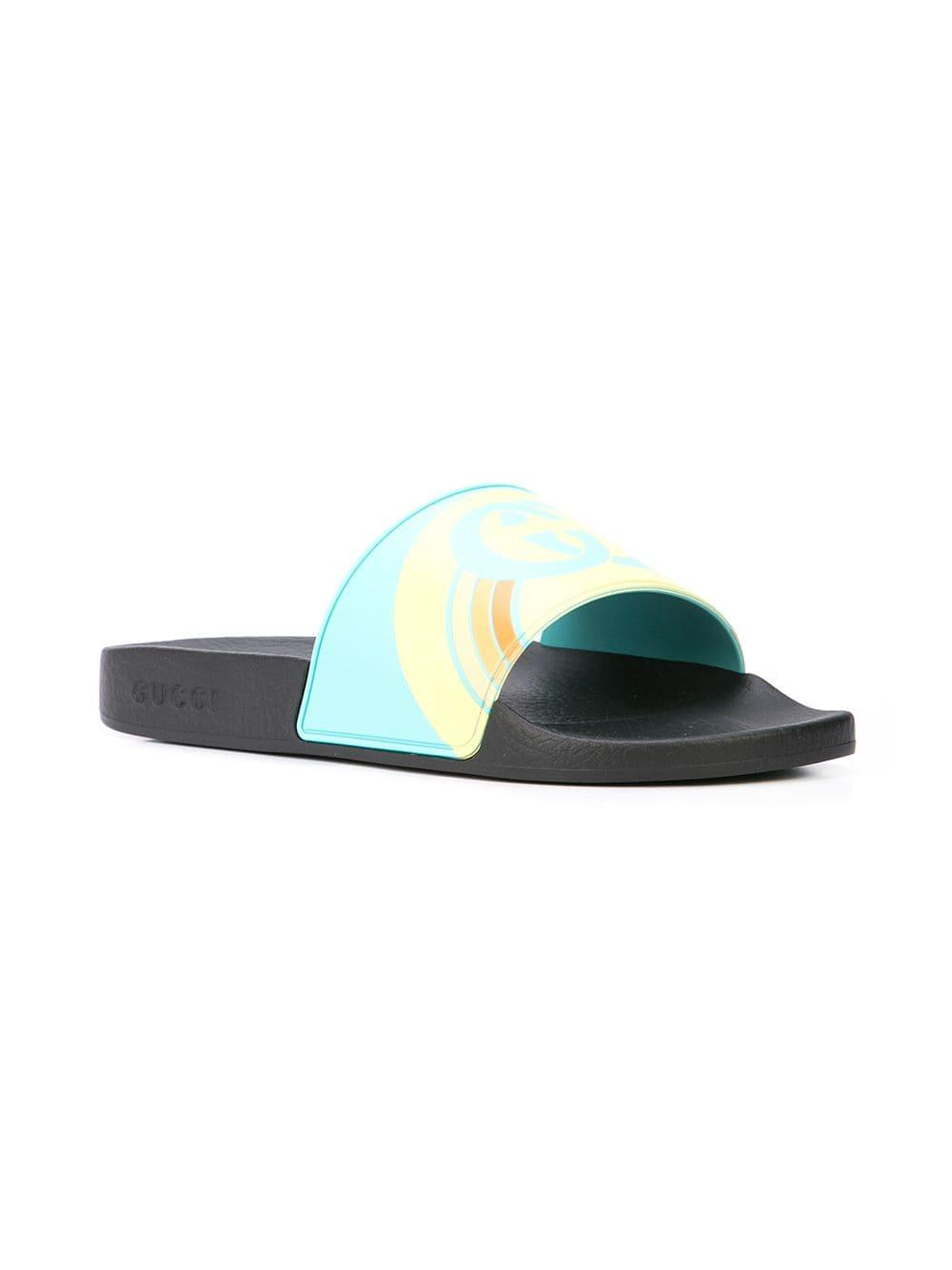 bd88785d240 Gucci - Blue Pursuit Logo Slides for Men - Lyst. View fullscreen
