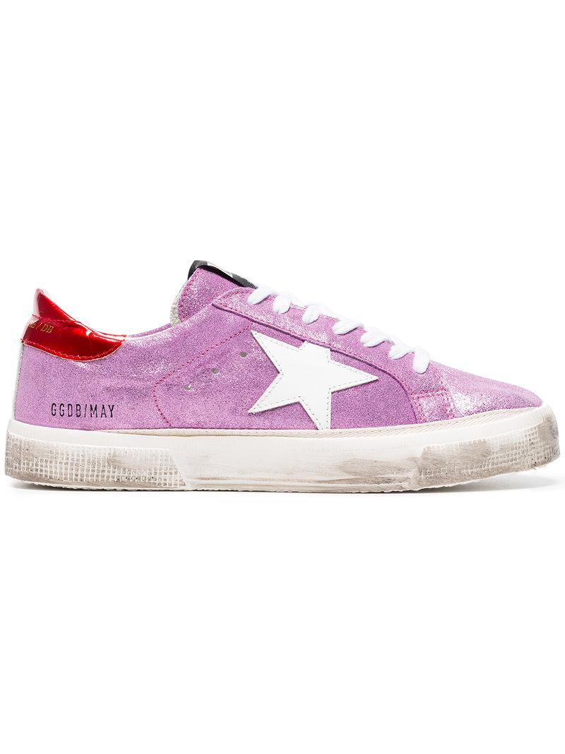 pink May glitter leather sneakers - Pink & Purple Golden Goose d8eGuFms