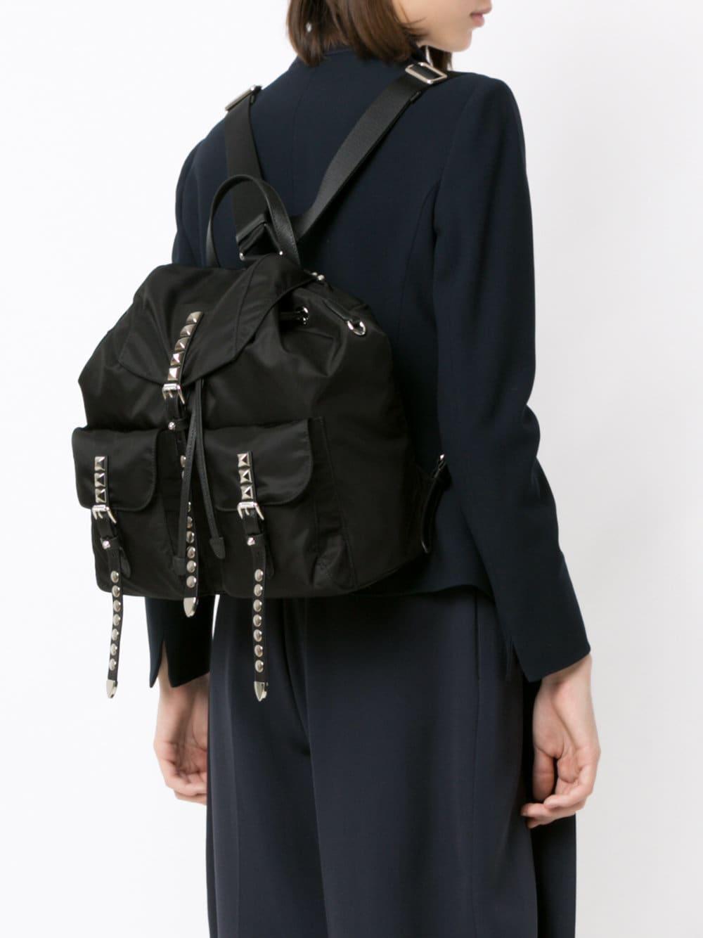 0283060031 Lyst - Prada Black Stud Embellished Nylon Backpack in Black