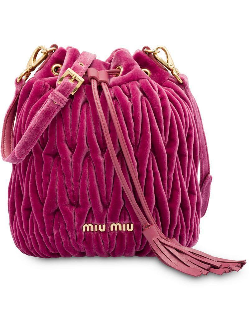 e7f941f2fdd2 Lyst - Miu Miu Matelassé Bucket Bag in Pink