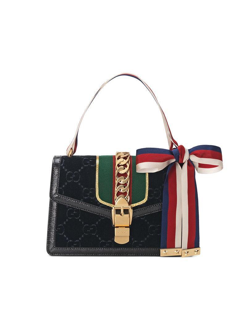 2d4bf270468 Gucci Black Sylvie GG Velvet Small Shoulder Bag in Black - Save 5 ...