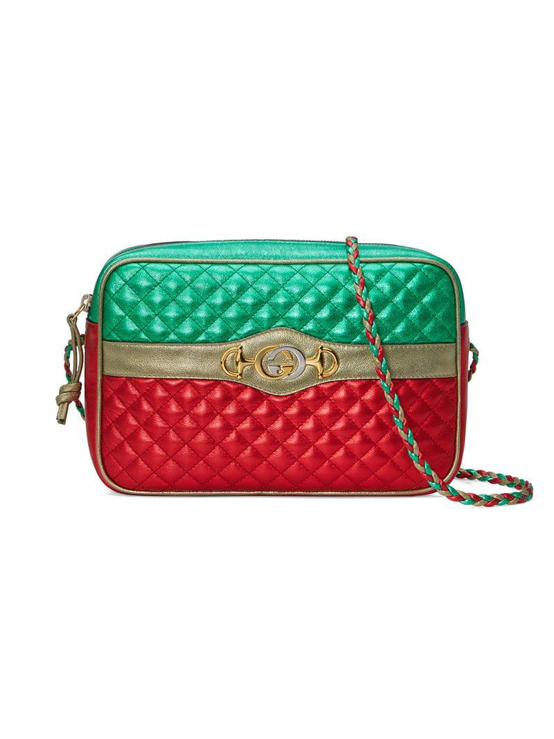 Lyst - Gucci Laminated Leather Small Shoulder Bag in Green 39b66a0d18846