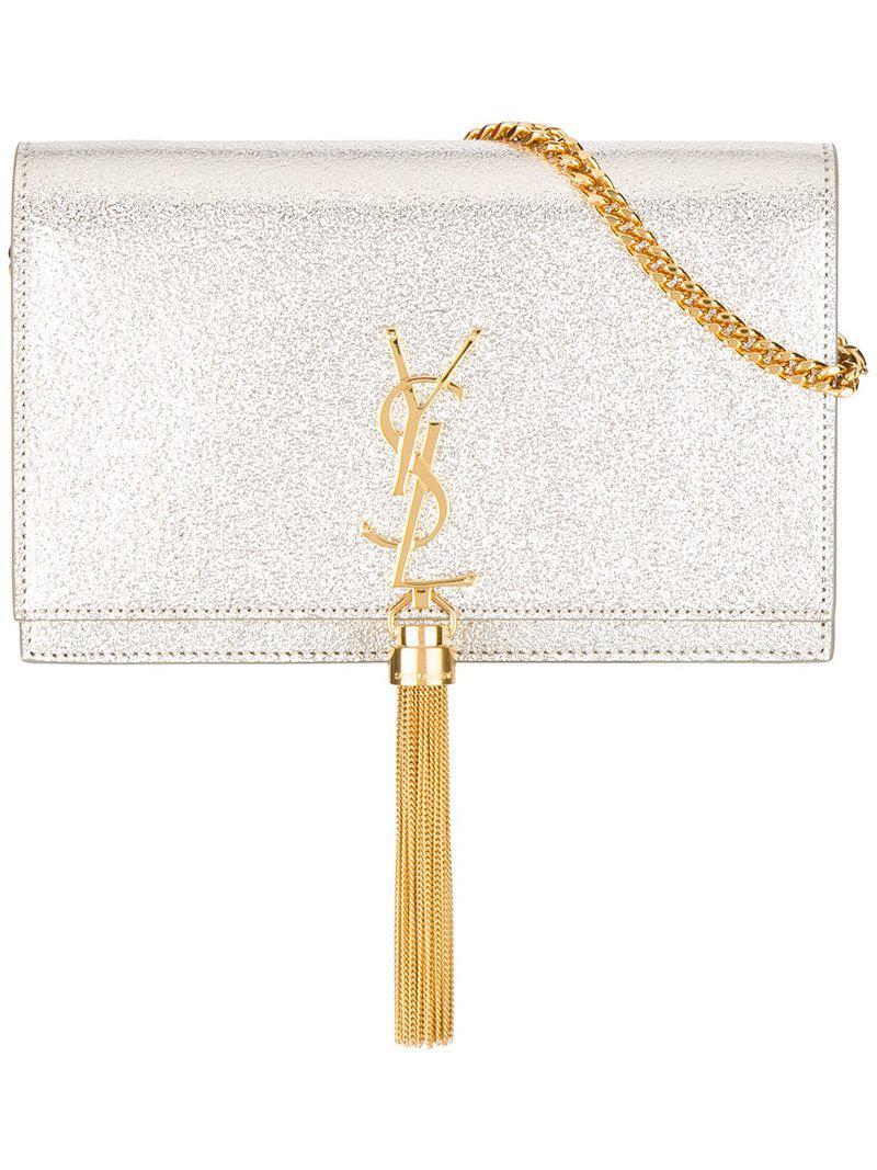 263fbea94e Lyst - Saint Laurent Small Monogram Kate Crossbody Bag in Metallic