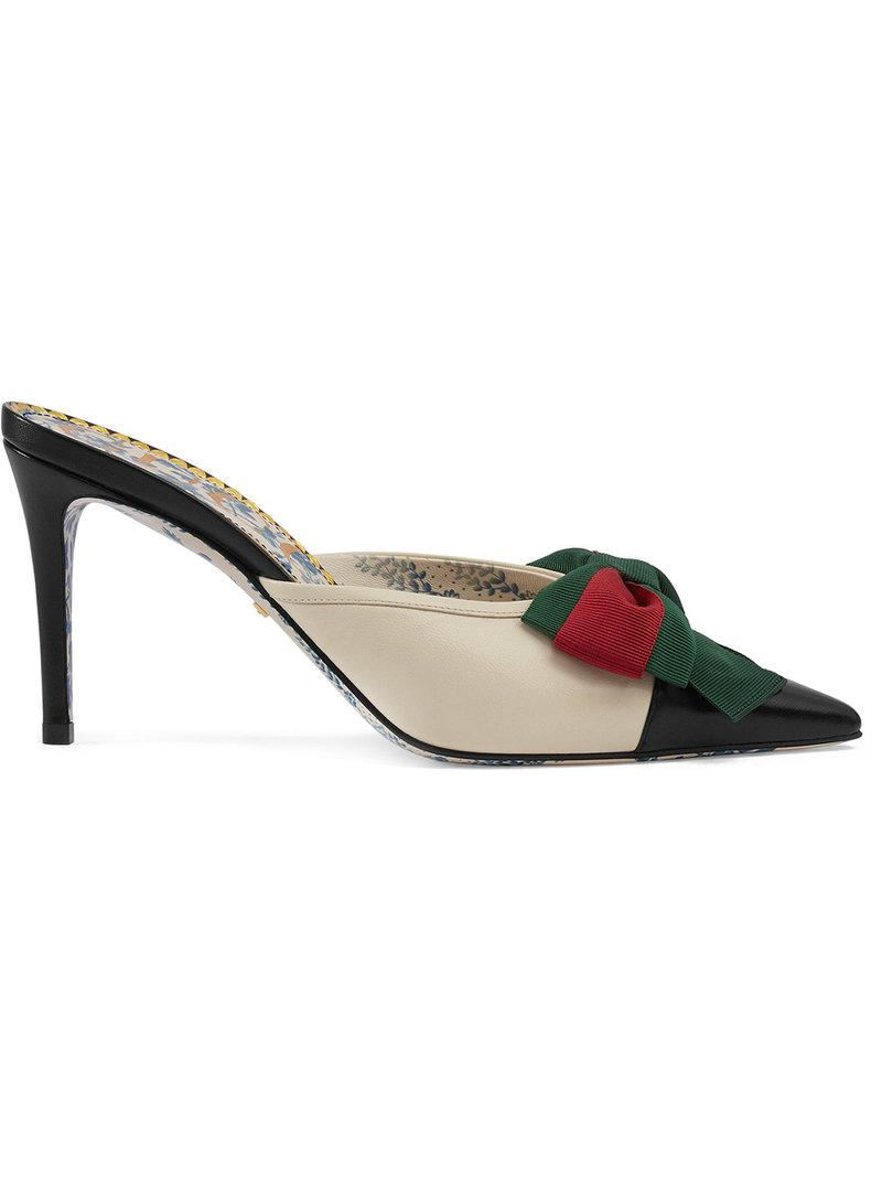 5d8229f9b466 Lyst - Gucci Leather Mid-heel Slide With Web Bow in White