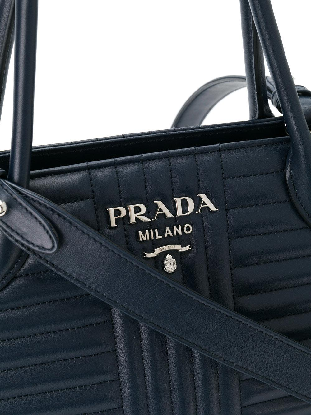 20b05f2a6ee ... official lyst prada diagramme tote bag in blue f0189 96689