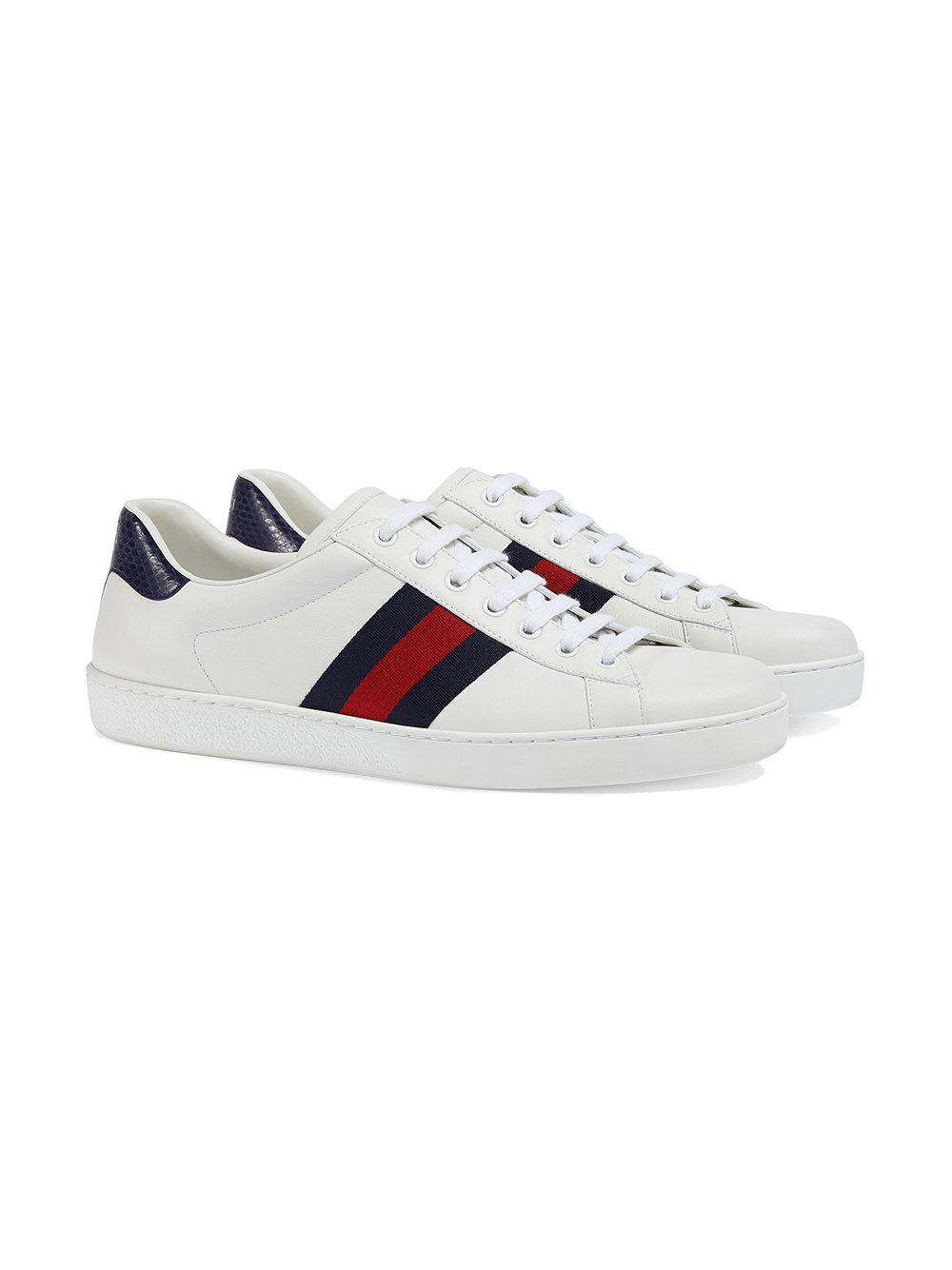 3c77299a39d Lyst - Gucci Ace Leather Low-top Sneaker in White for Men