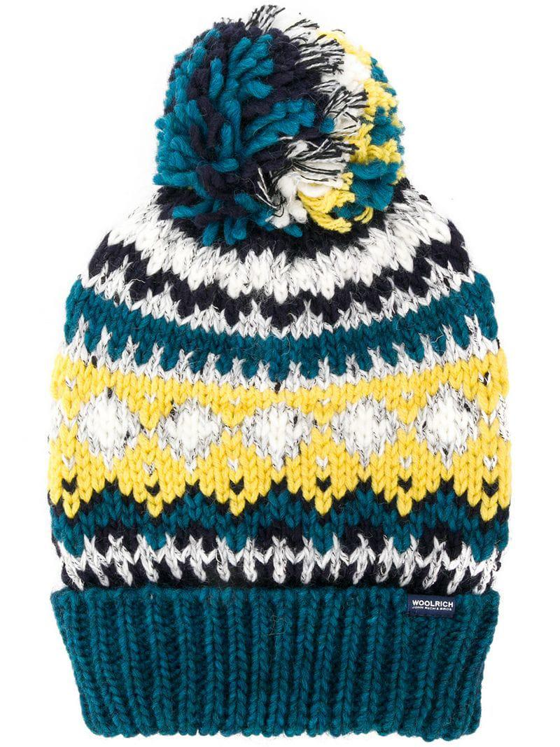 cc908b2752947 Woolrich Embroidered Beanie Hat in Blue for Men - Lyst