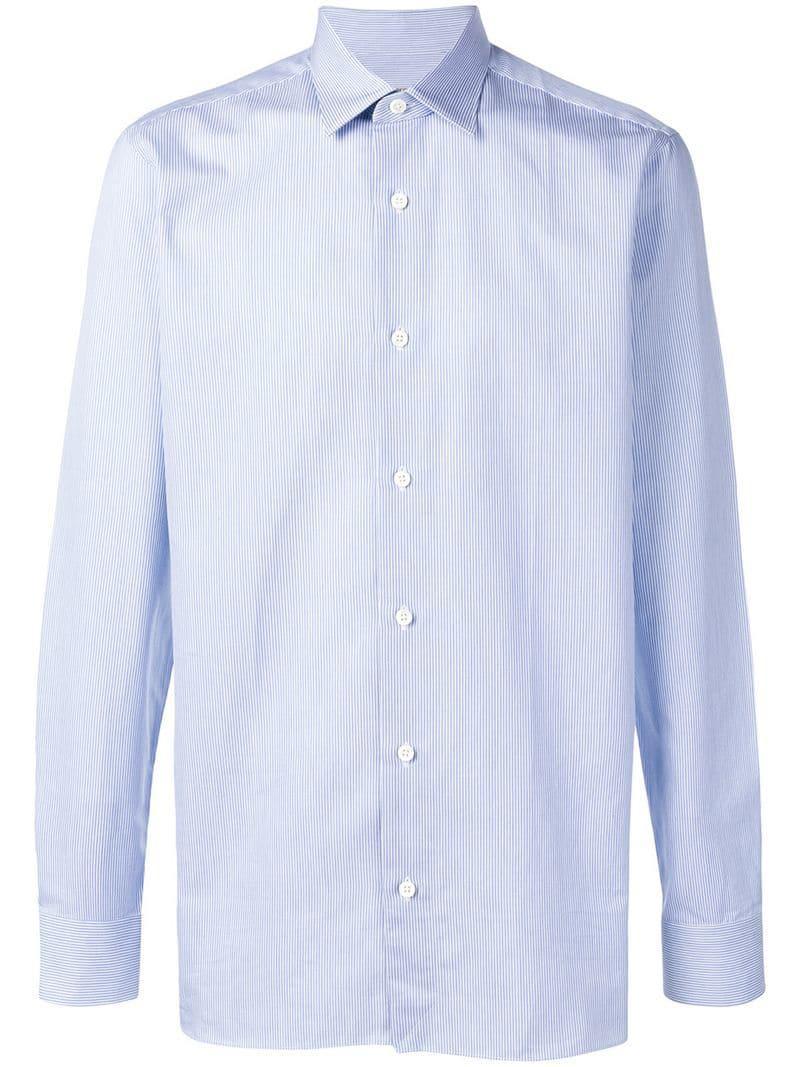 a1cb40ac3944 Lyst - Z Zegna Pinstripe Shirt in Blue for Men