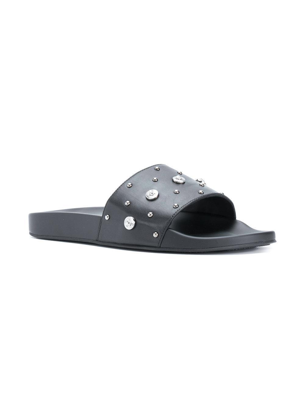 ab04915aa6c59 Lyst - Versace Studded Medusa Slides in Black for Men