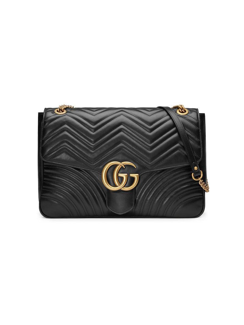 1b9c840d0e66 Gucci GG Marmont Large Shoulder Bag in Black - Lyst