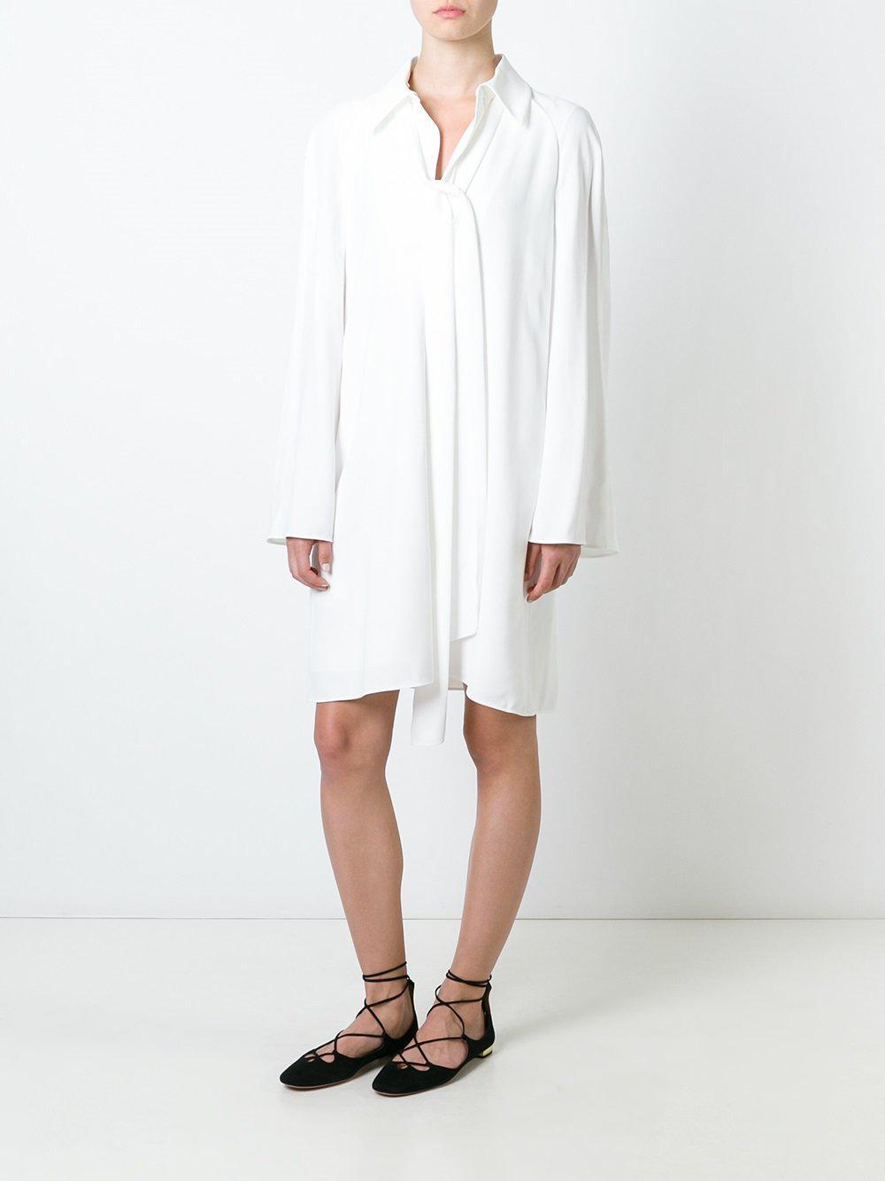 Lyst - Robe-chemise à col lavallière Chloé en coloris Blanc 17748fb85ba