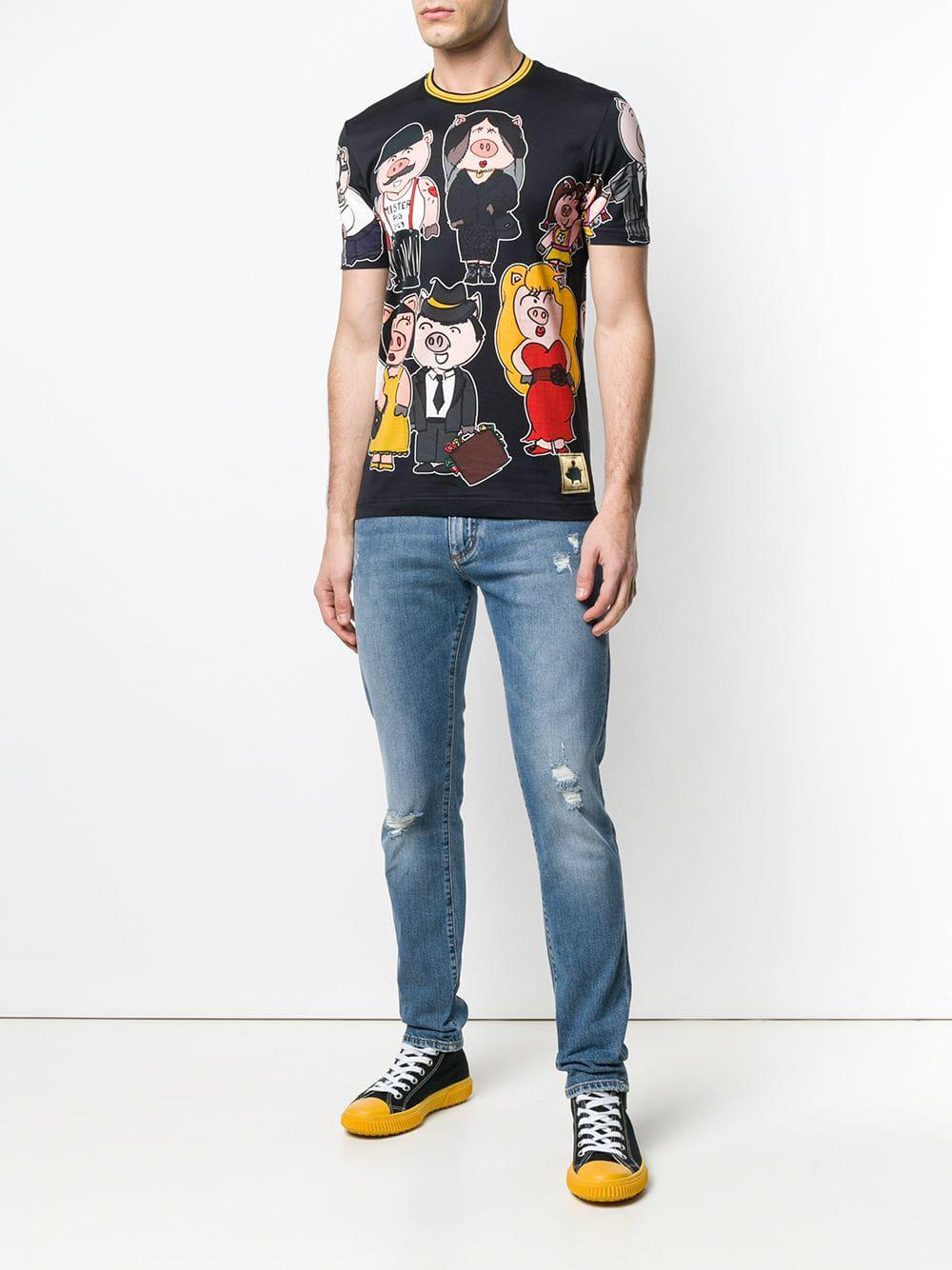2a9996b5b0 Lyst - Dolce   Gabbana Family Pig T-shirt in Black for Men
