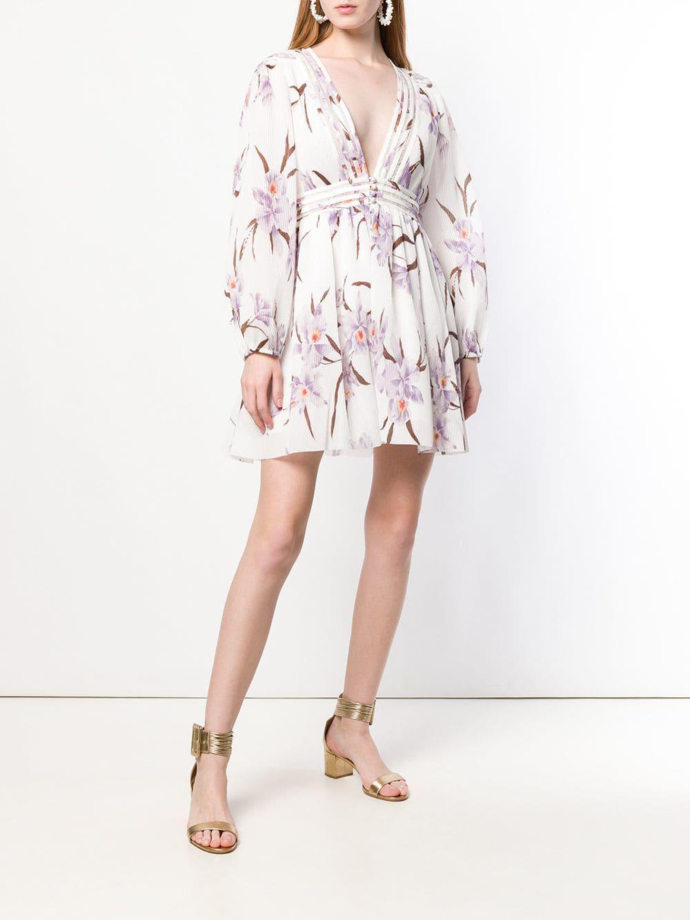 c10b097ea1e23 Zimmermann Corsage Floral Plisse Long-sleeve Mini Dress in White - Save 13%  - Lyst