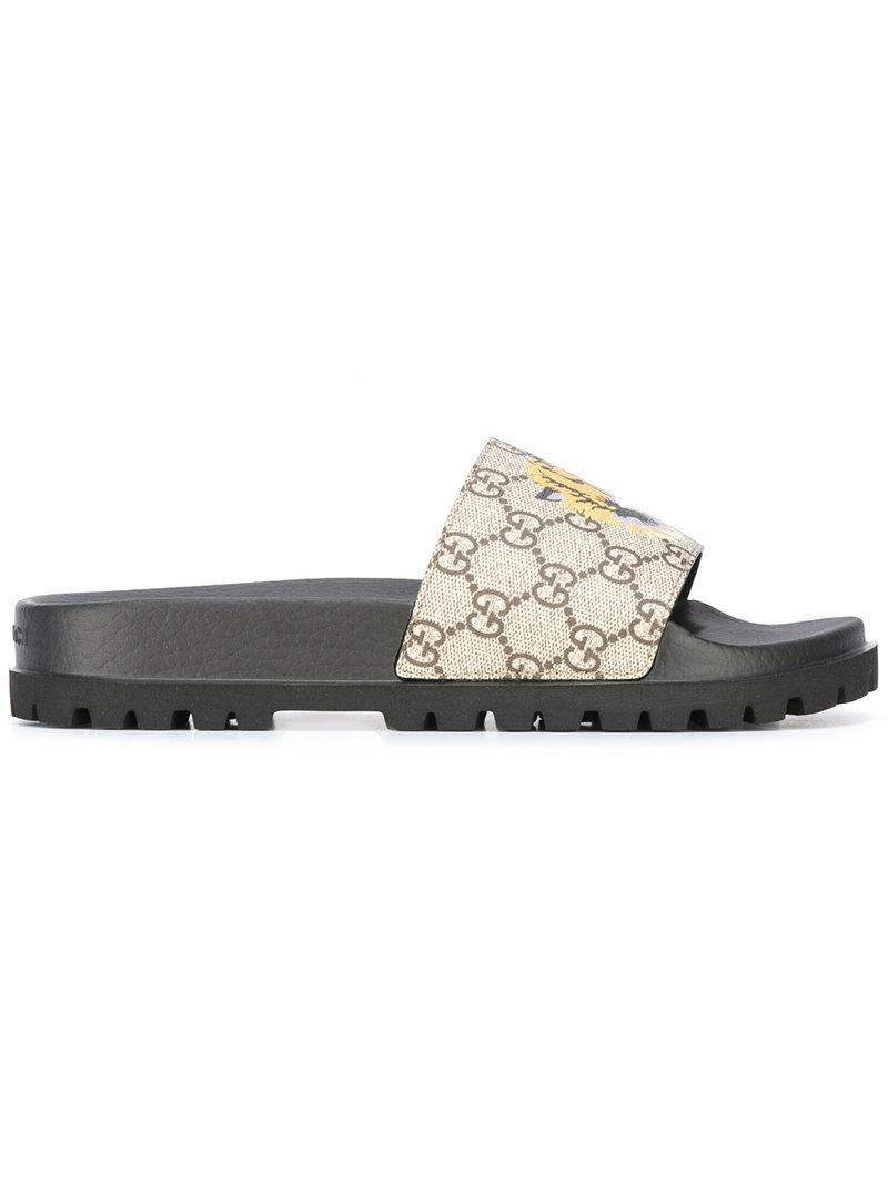 16a3c566946895 Lyst - Gucci Gg Supreme Tiger Pool Slides in Brown for Men