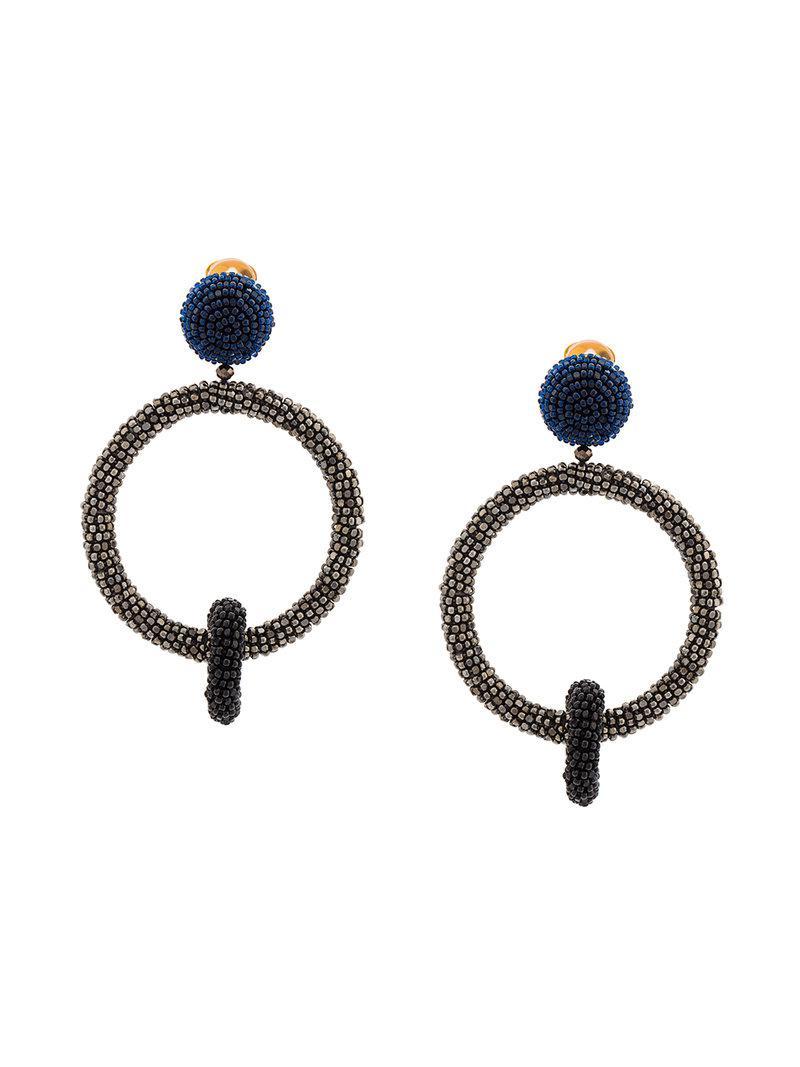 Oscar De La Renta beaded double-hoop earrings - Blue oKC8fC7BFO
