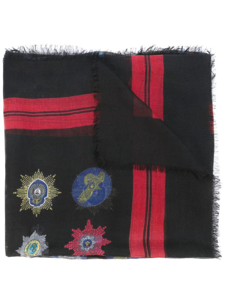 335f263b667f Alexander Mcqueen Skull Badge Print Scarf in Red for Men - Lyst