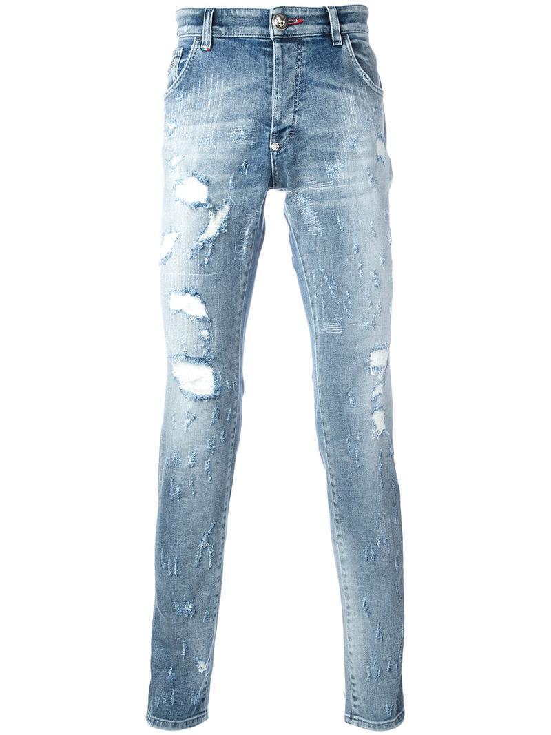 lyst philipp plein artistic jeans in blue for men. Black Bedroom Furniture Sets. Home Design Ideas