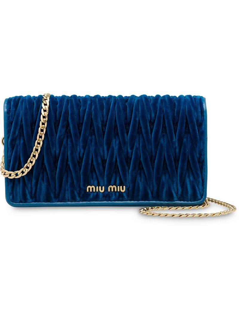 e2a607df2391 Miu Miu - Blue Matelassé Velvet Bag - Lyst. View fullscreen