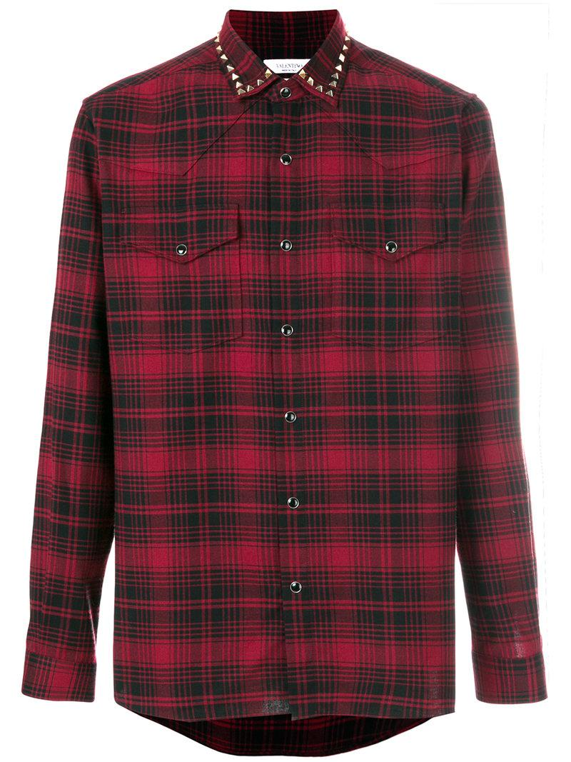 lyst valentino rockstud trim plaid shirt in red for men. Black Bedroom Furniture Sets. Home Design Ideas