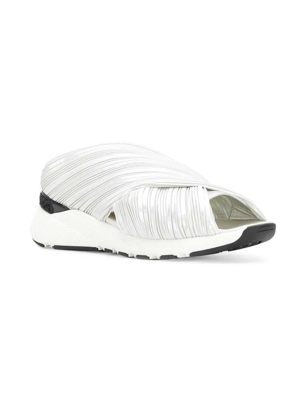 Cuir Logo Imprimé Rue Urbaine Glisser Sur Chaussures De Sport - Blanc Givenchy Dggir