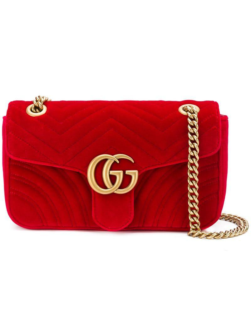 3a7c893f90b Gucci GG Marmont Shoulder Bag in Red - Save 4% - Lyst
