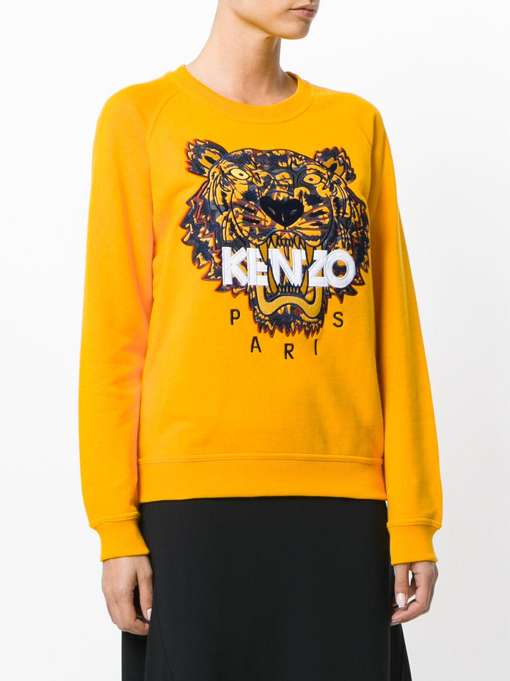 150121fd KENZO Tiger Embroidered Sweatshirt in Yellow - Lyst