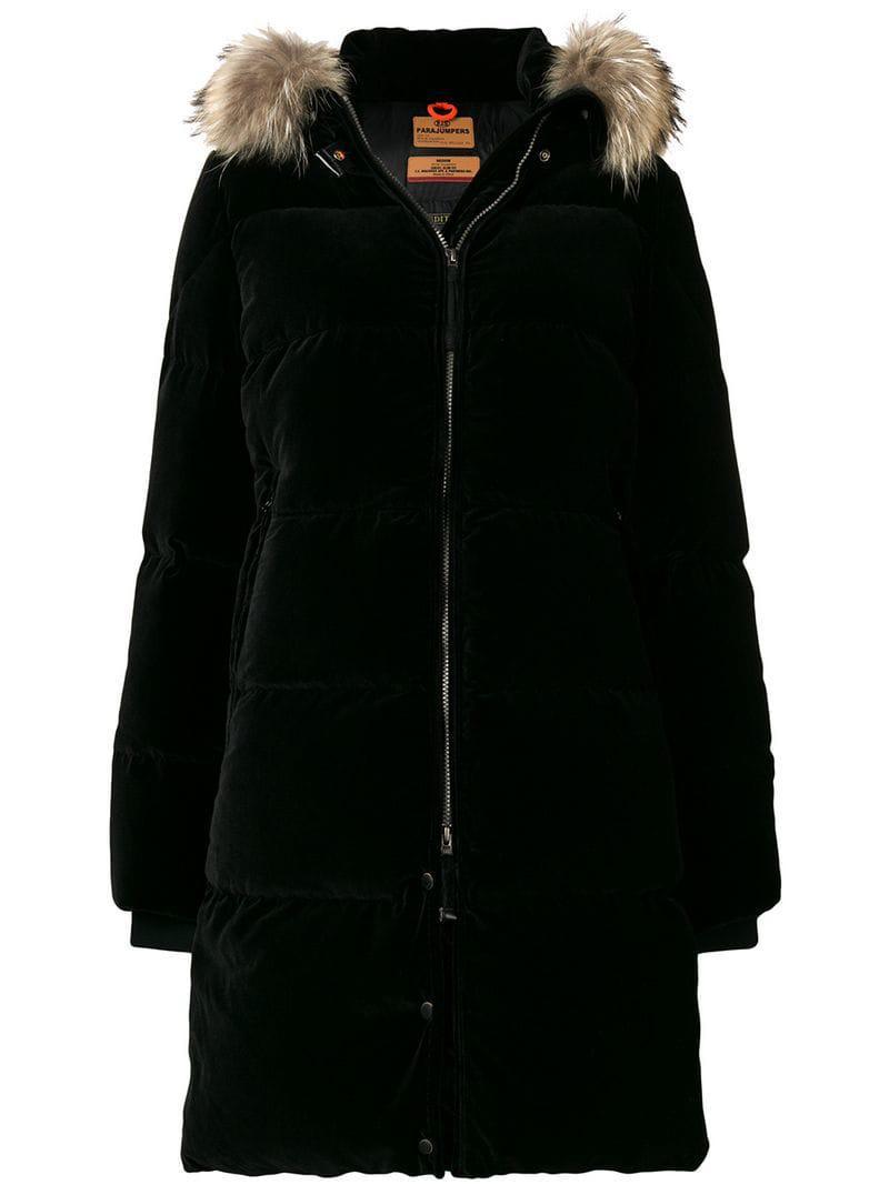 Parajumpers. Women's Black Sindy Velvet Down Jacket