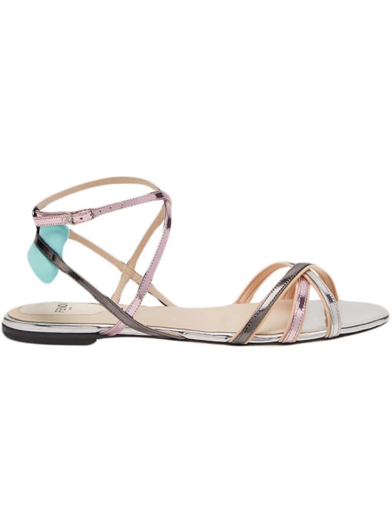 Lyst - Fendi Open Toe Strappy Sandals in Metallic 1bb2946fda8