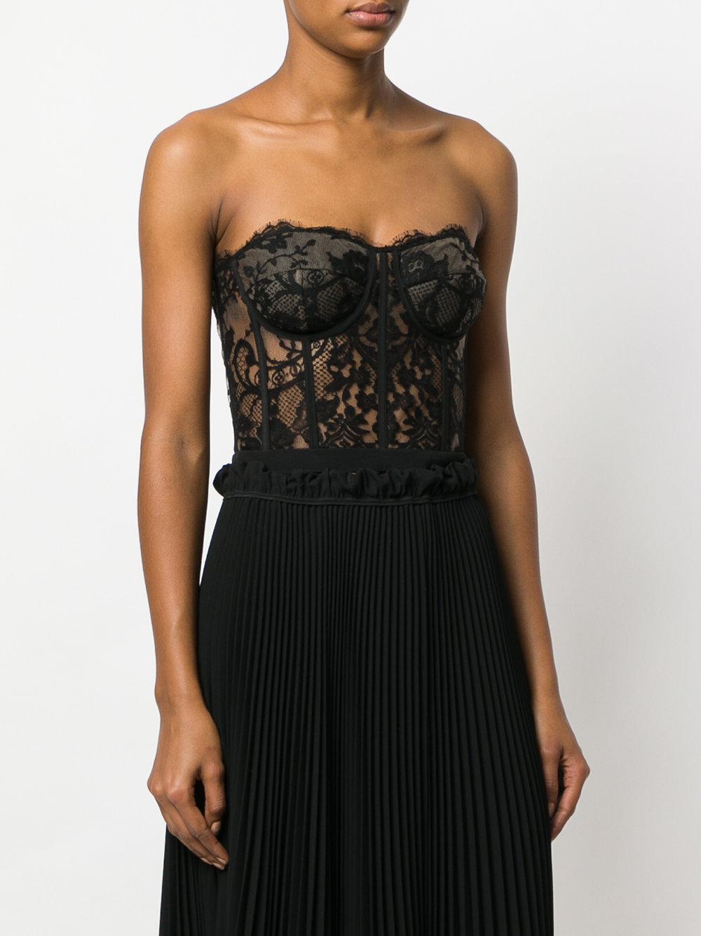 Lyst - Alexander McQueen Lace Bustier Top in Black ab5e4b707