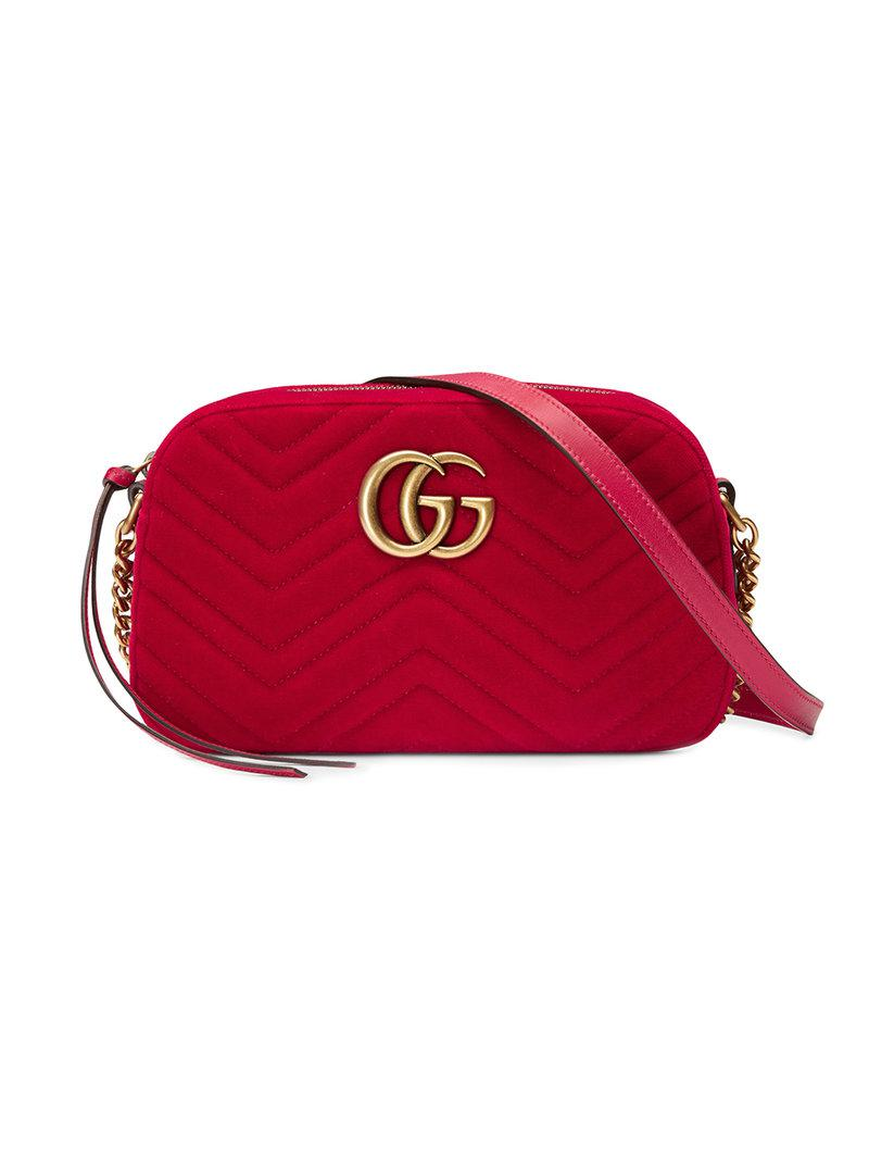 dbf7d8c445be2 Gucci Gg Marmont Velvet Small Shoulder Bag in Red - Save ...