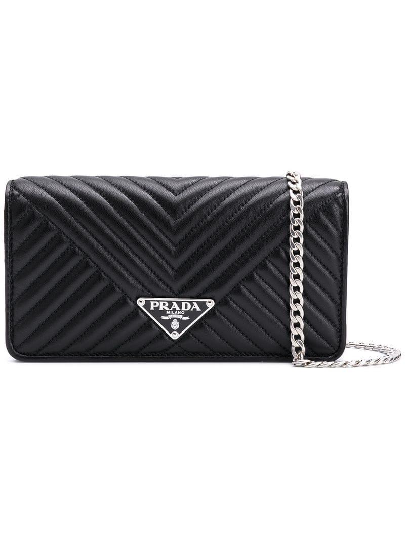 d04d3f89c8e8 Lyst - Prada Quilted Mini Crossbody Bag in Black - Save 6%