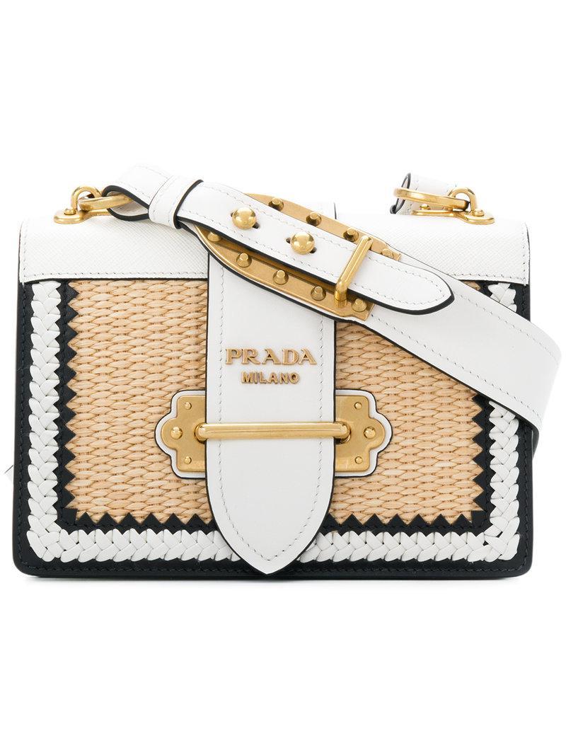 bcdb0ce20bc8 Prada Basket Weave Cahier Shoulder Bag in White - Lyst