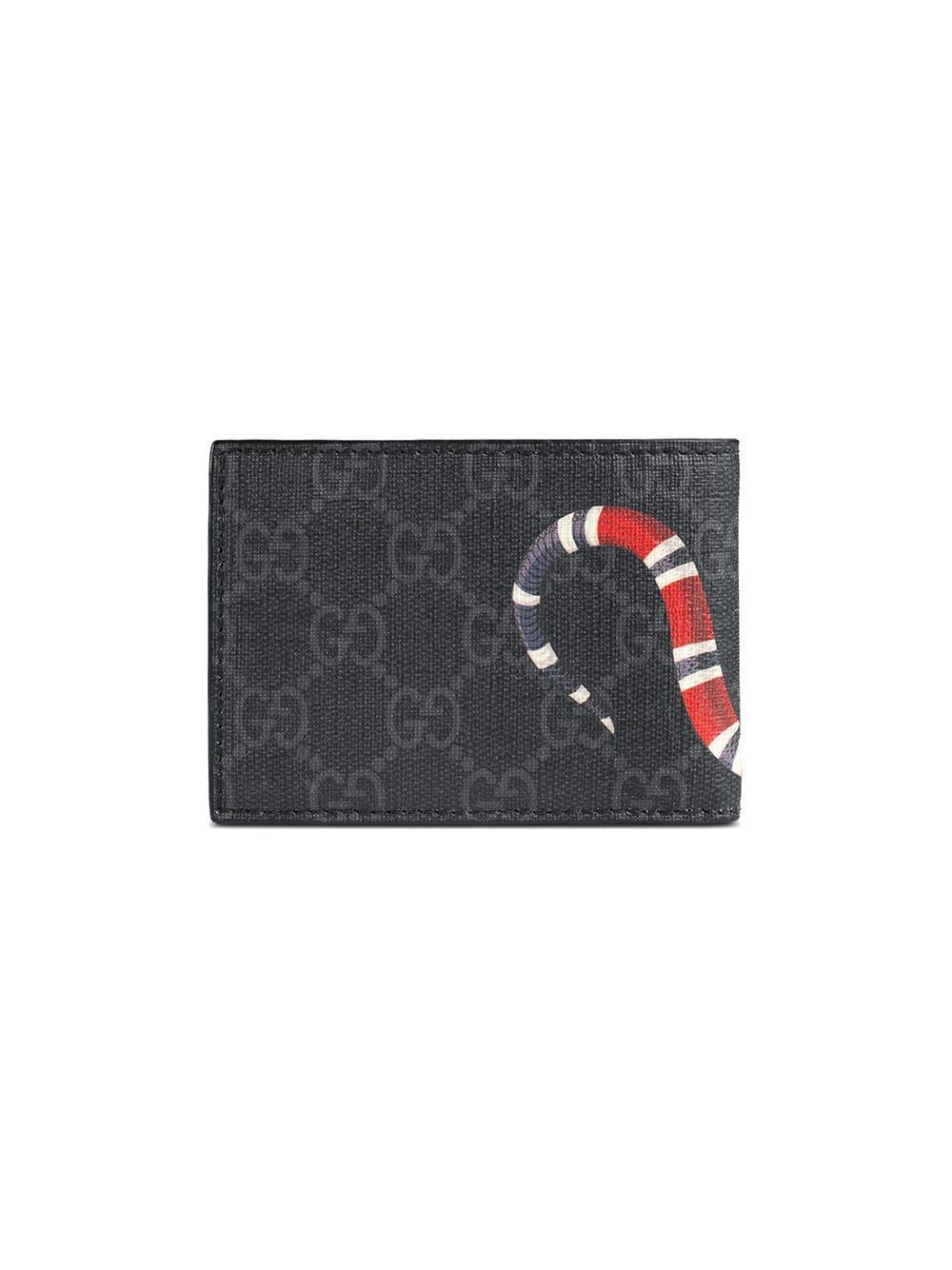 c437cf7ef7de Gucci - Black Kingsnake Print GG Supreme Wallet for Men - Lyst. View  fullscreen