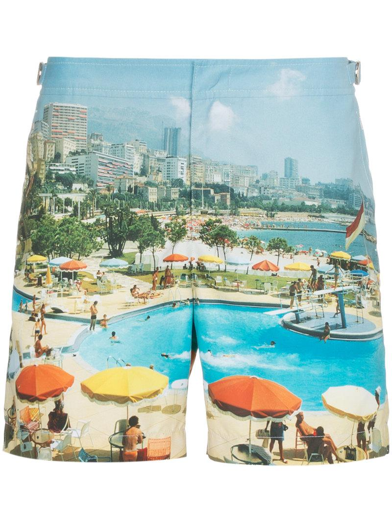 1b43b9584c Lyst - Orlebar Brown Bulldog Monte Carlo Print Swim Shorts in Blue ...