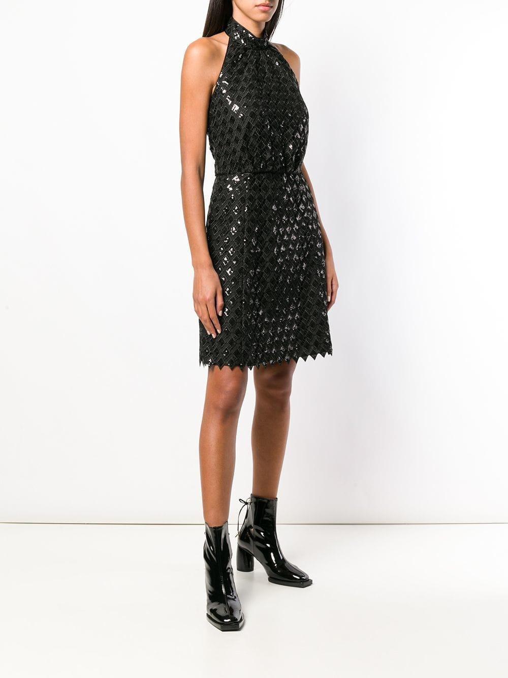 ff3eaa628d4b Emporio Armani Diamond Macramé Dress in Black - Lyst