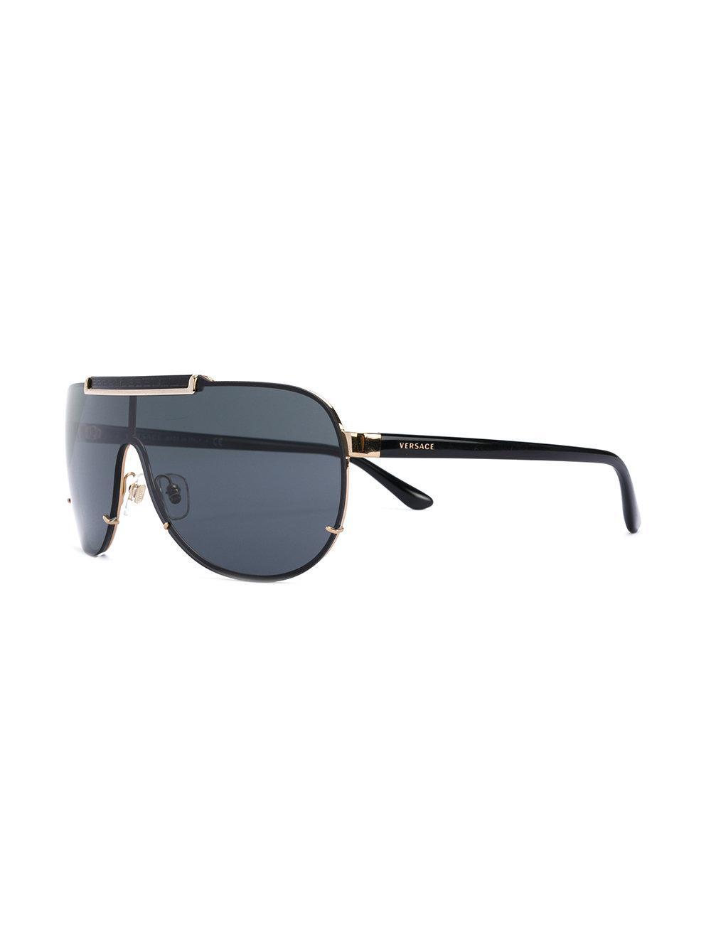 810e2cc73b97 Lyst - Versace Visor Aviator Sunglasses in Black