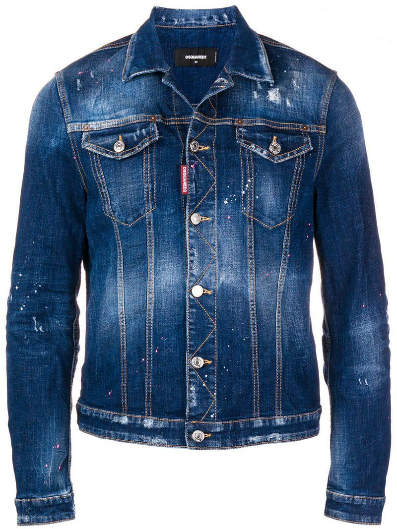 9d7db3bb0a045b DSquared² Paint Splattered Denim Jacket in Blue for Men - Lyst