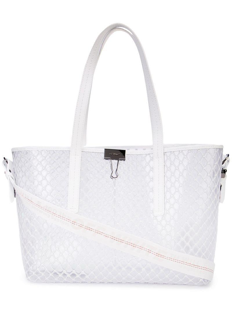 Off-White c o Virgil Abloh Transparent Mesh Tote in White - Lyst baf1684fe0df1