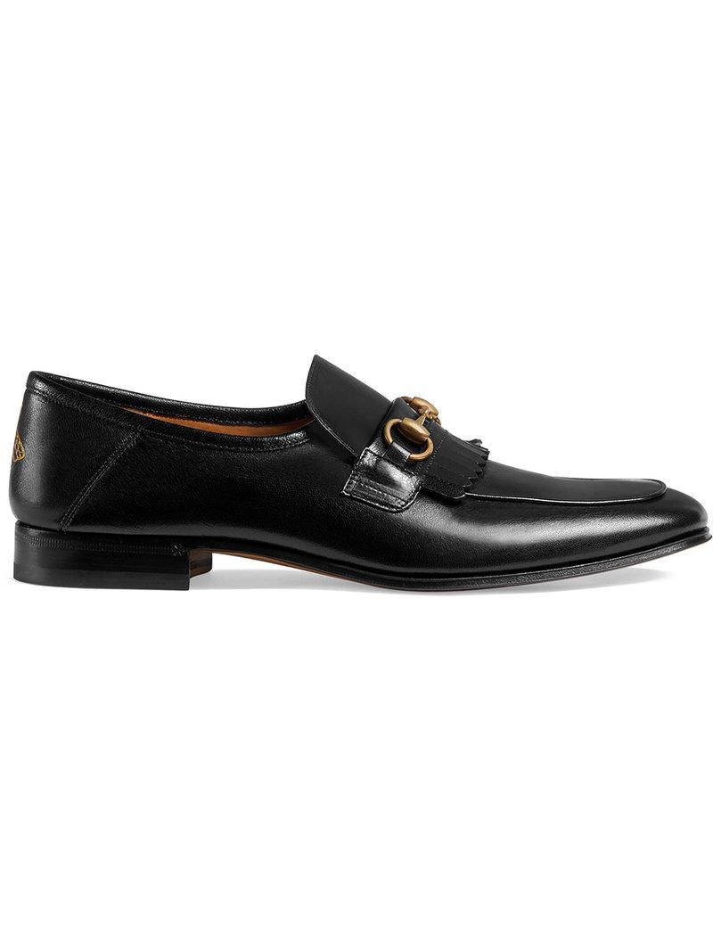 9d87c4abed7 Gucci Leather Fringe Horsebit Loafer in Black for Men - Lyst