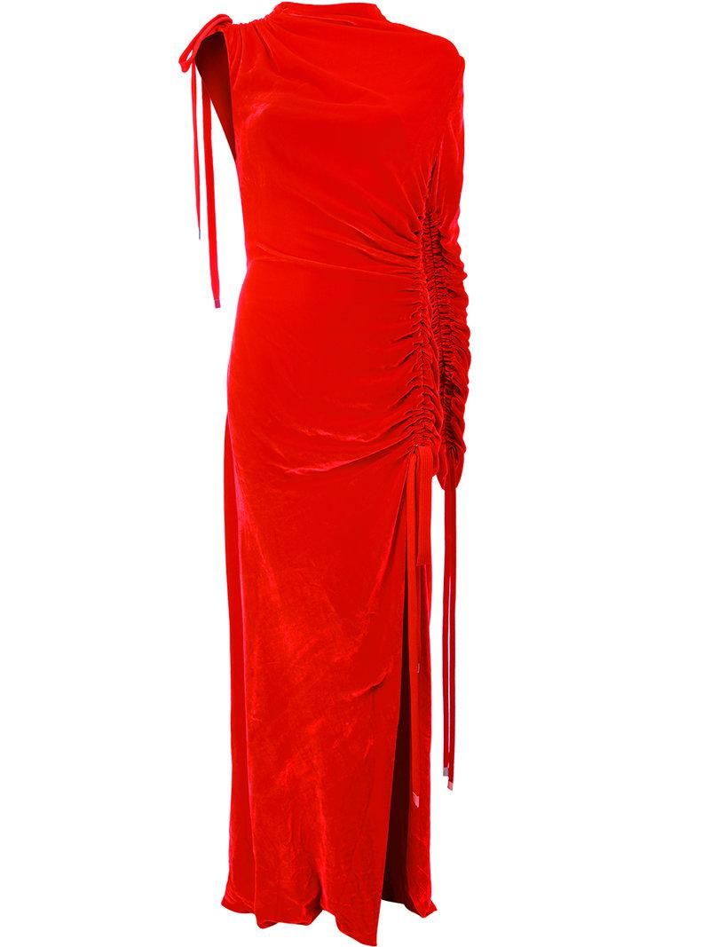 lyst monse slim fit drawstring dress in red