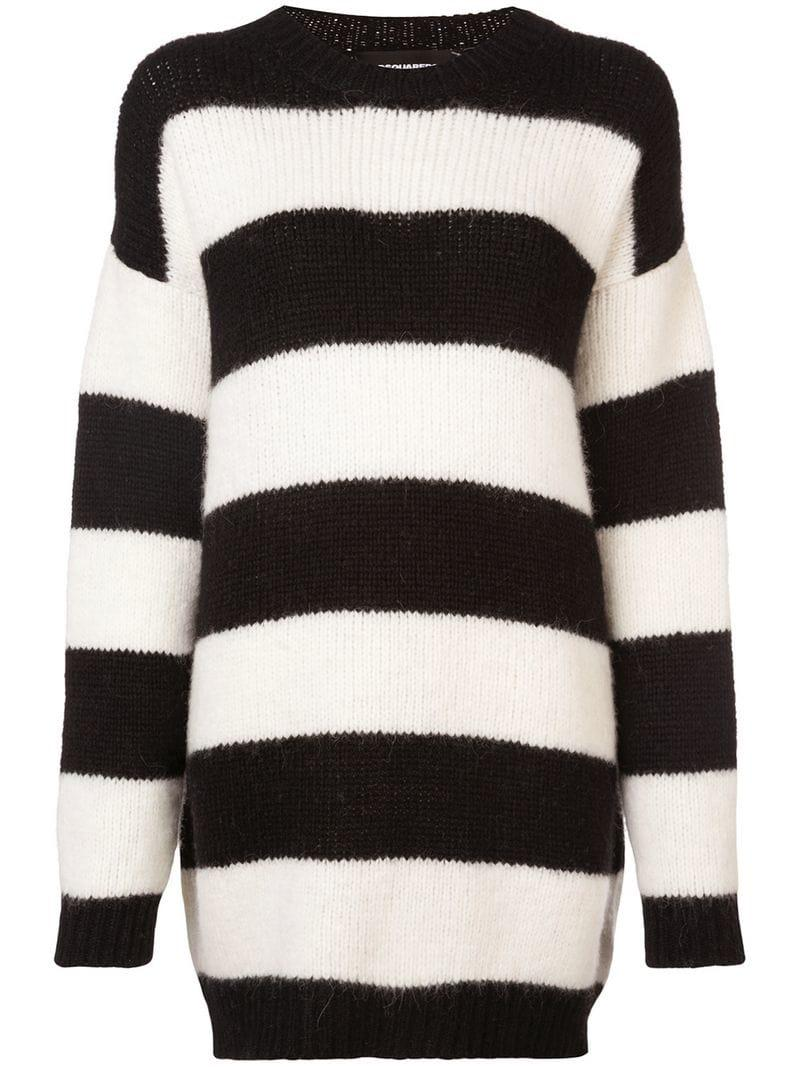 Lyst - DSquared² Oversized Knitted Striped Sweater in Black e5b3a8bfa