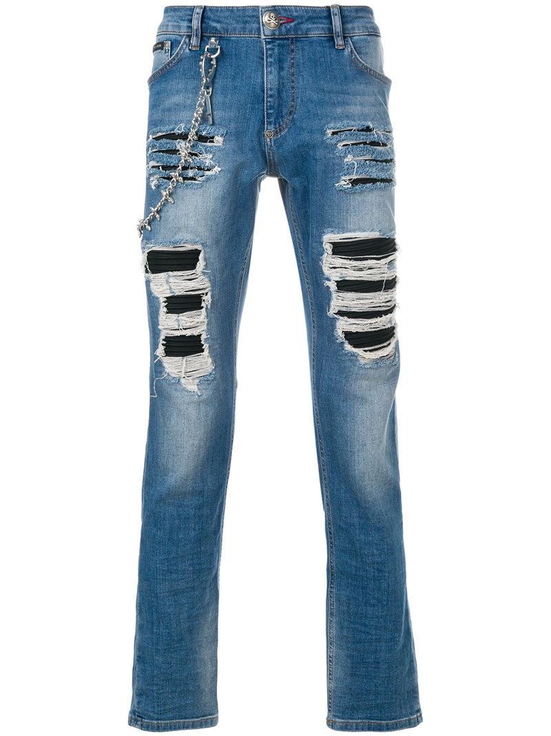 ripped biker jeans - Blue Philipp Plein 2018 Unisex For Sale Outlet Factory Outlet Buy Online Cheap VtMxmu