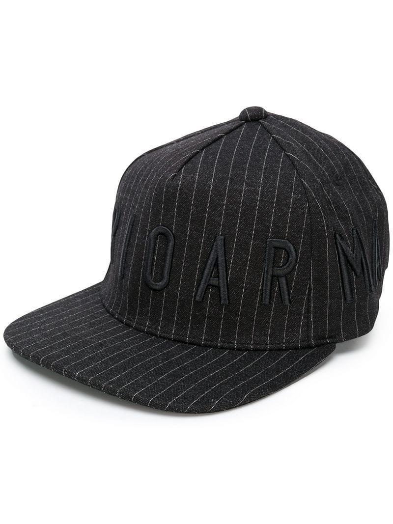 8ceb74c33fb Lyst - Emporio Armani Logo Striped Cap in Black for Men - Save ...