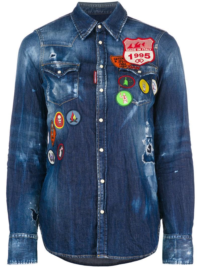 19edcd87ec Lyst - DSquared² Patchwork Denim Shirt in Blue - Save 41%