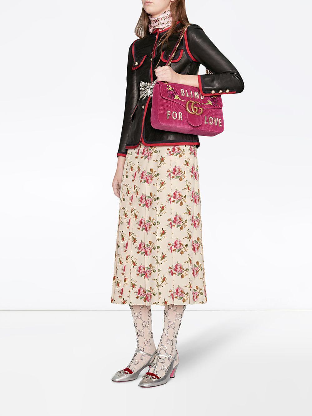 7cf9da9b7821 Gucci Fuchsia Pink GG Marmont Medium Shoulder Bag in Pink - Lyst
