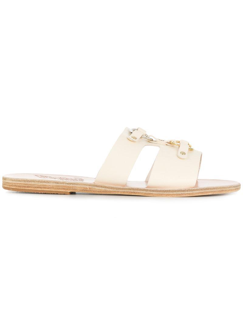 open toe embossed design slippers - White Ancient Greek Sandals OprePd