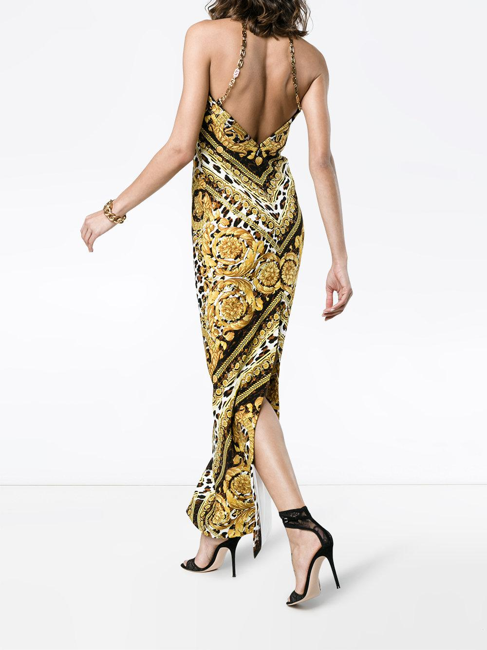 ce0446b7c61d Lyst - Versace Silk Baroque And Leopard Print Dress in Black - Save 54%