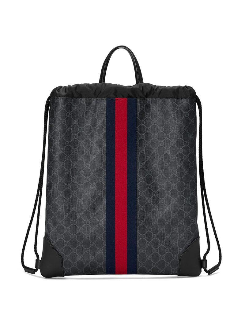 592d885a89af Gucci Soft GG Supreme Drawstring Backpack in Black for Men - Lyst