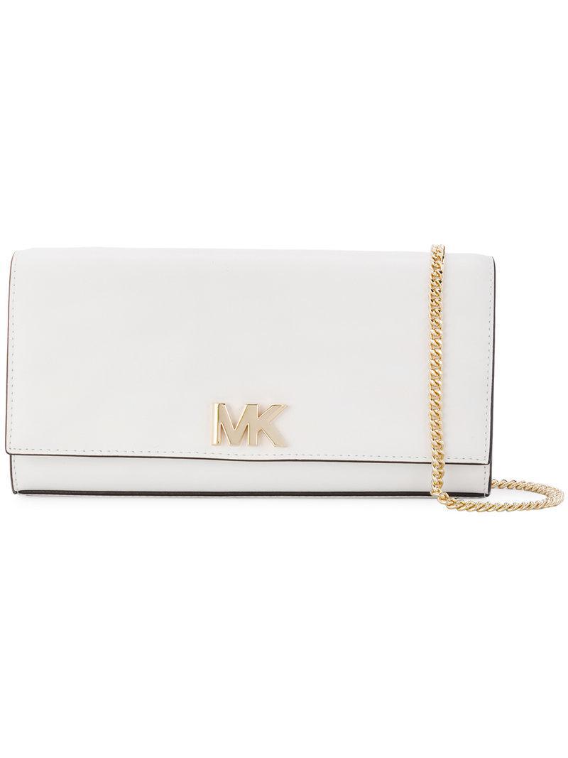 fc441bdbcee2 Lyst - Michael Michael Kors Mott Chain Wallet in White